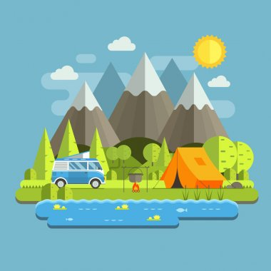 Camping Travel Flat Landscape