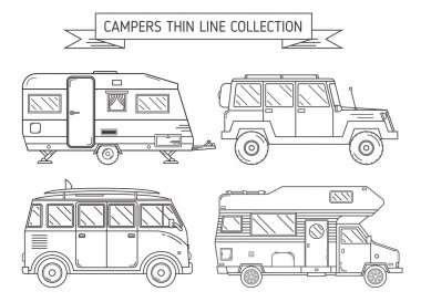 Campers and Trailer in Thin Line Art