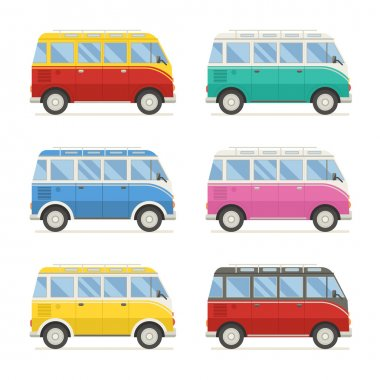 Summer Tourist Bus Colorful Icons