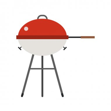 Barbecue vector. Grill icon isolated on white background. Color barbecue pictogram. Grill cartoon image in flat style. clip art vector