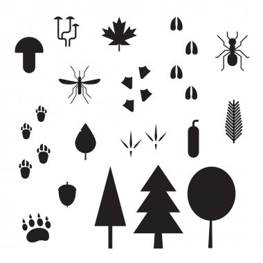 Forest Life Silhouette Outline Icons