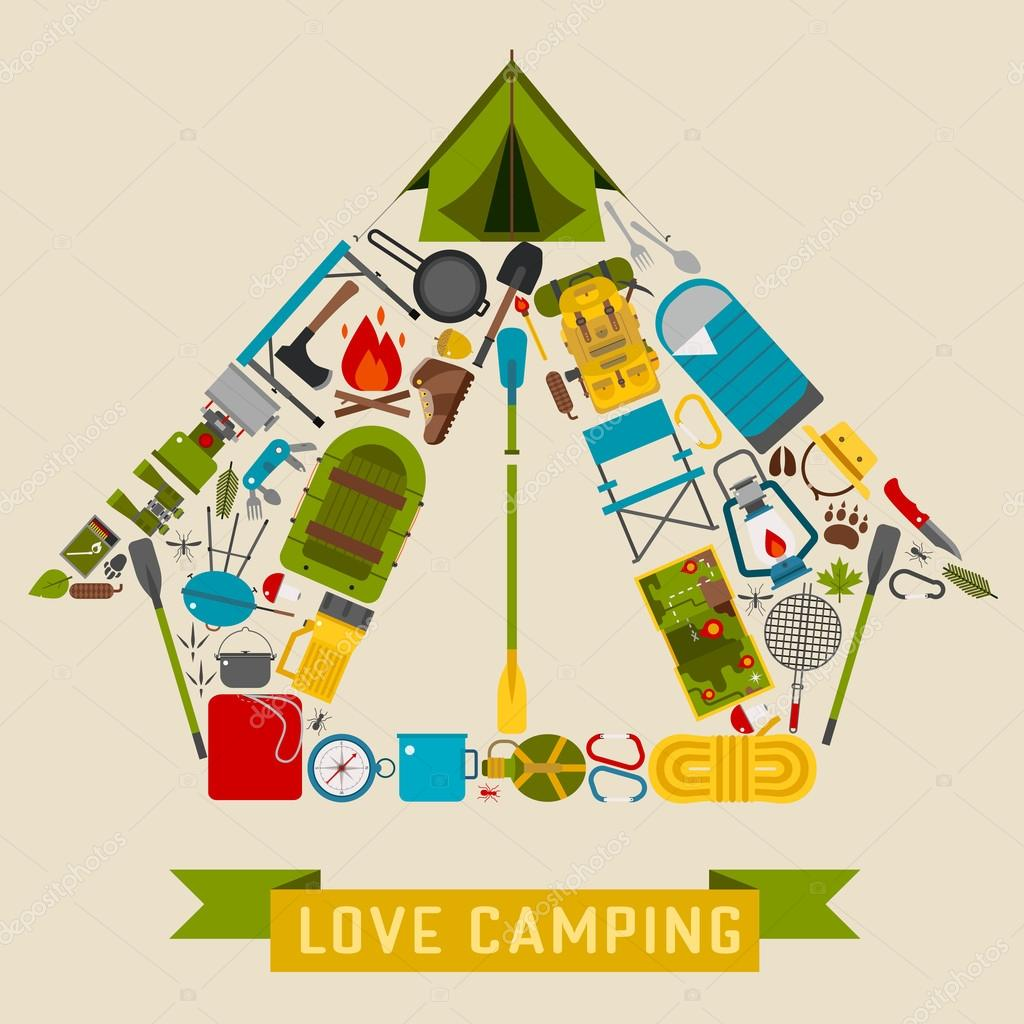 C& icons in tourist tent shape. Love c&ing concept with vector hiking elements. u2014 Vector by krugli86@gmail.com  sc 1 st  Depositphotos & Camping and Hiking Tent Shape Concept u2014 Stock Vector © krugli86 ...