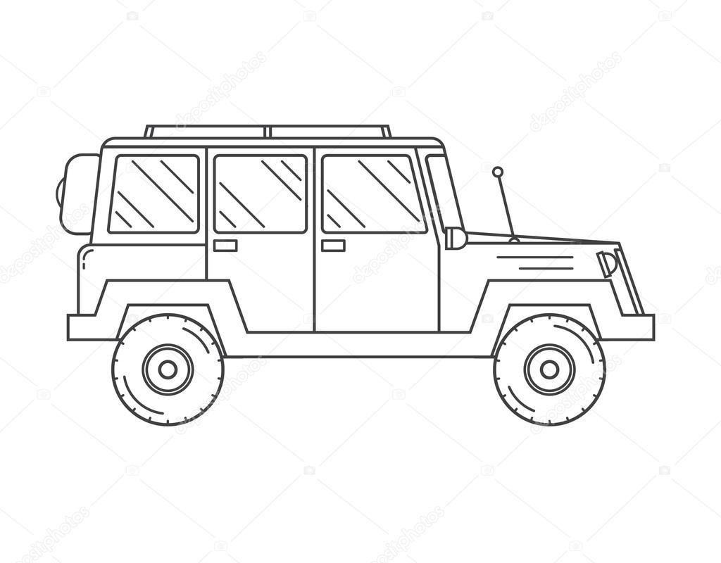 Suv Jeep Gliederung Symbol Stockvektor Krugli86 At Gmailcom 106616726