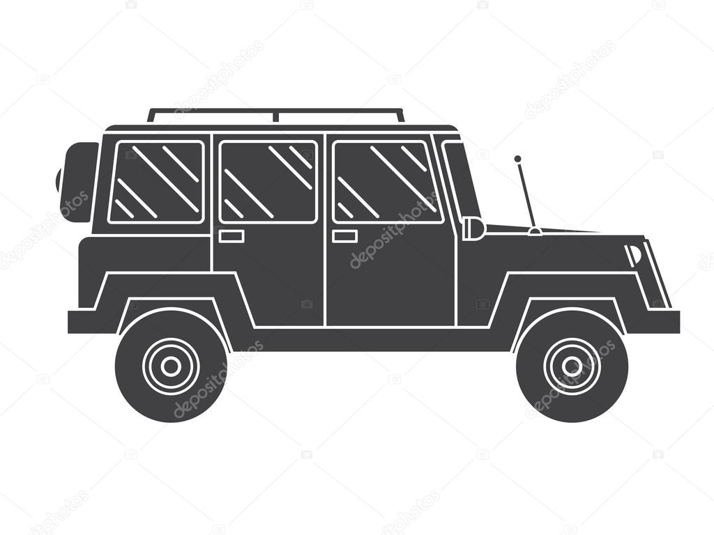 Outline Suv Black And White Icon Stock Vector C Gmail