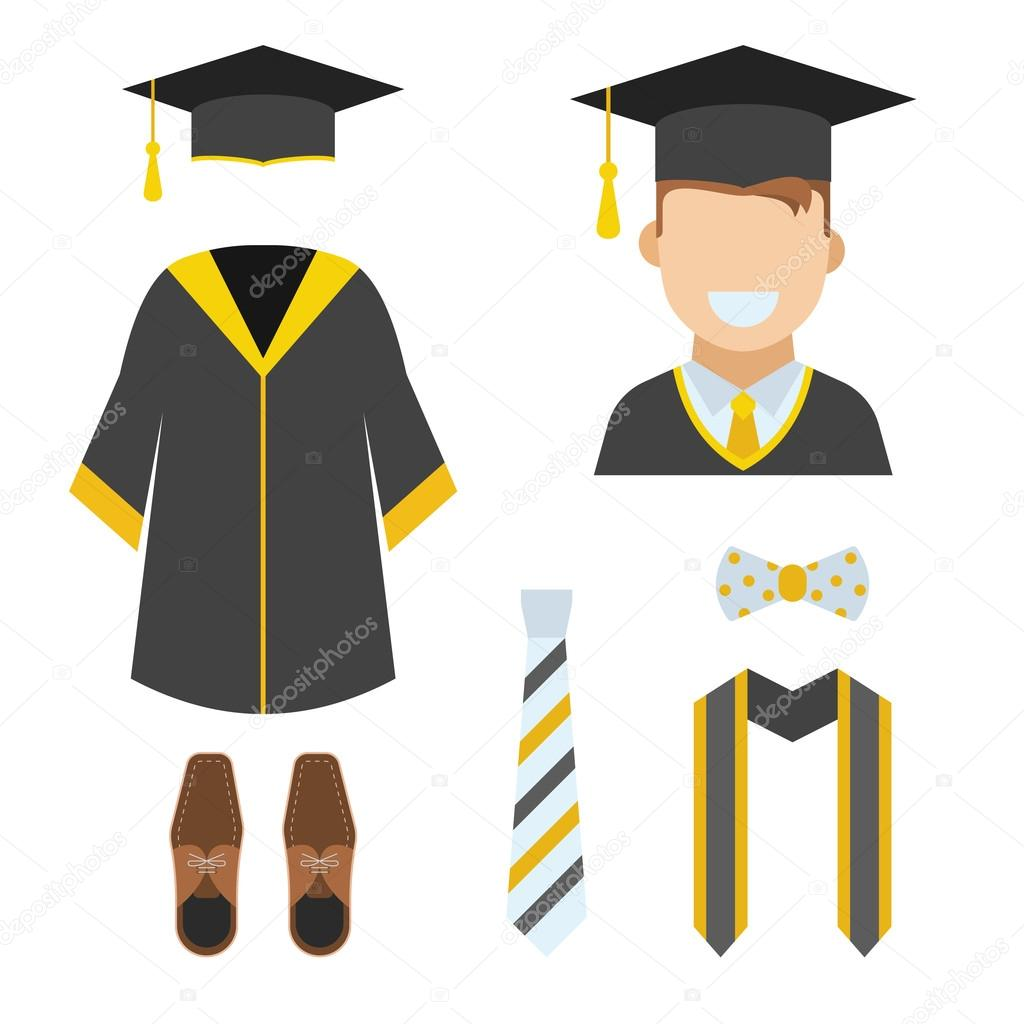 Graduation Garment and Accessories — Stock Vector © krugli86@gmail ...