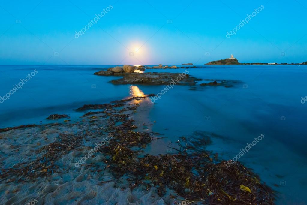 View of Moon over Seascape