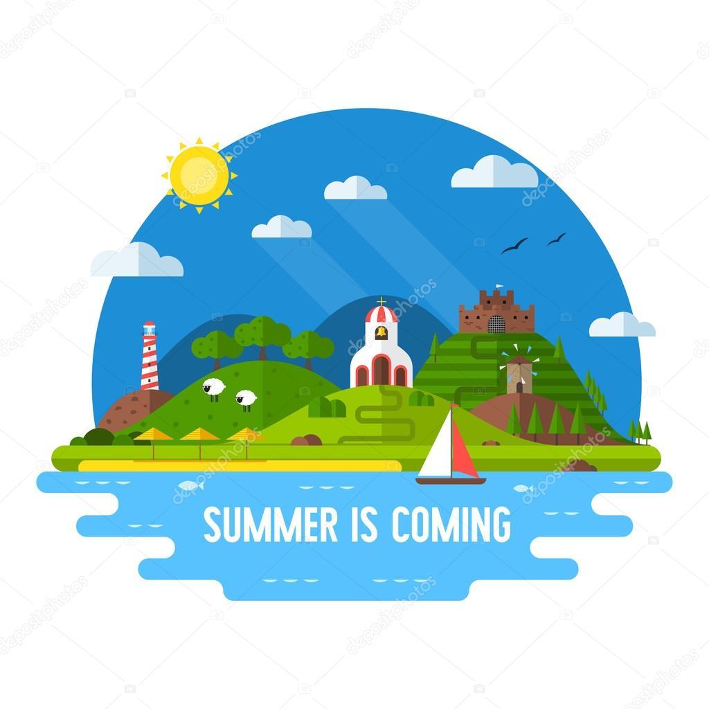 夏冒険フラット デザイン島の風...