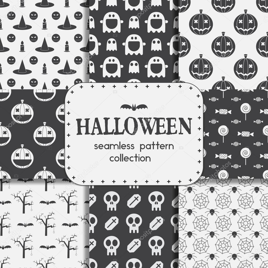 Conjunto de fondos de Halloween de patrones sin fisuras — Vector de ...