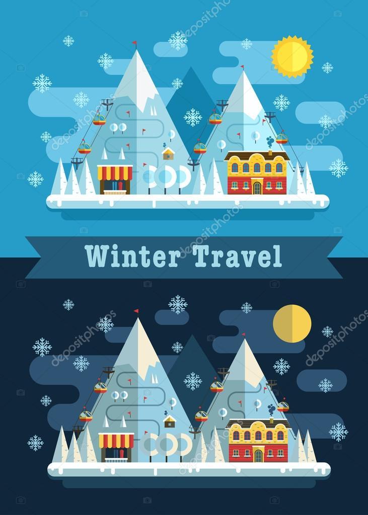 Winter vacation flat landscape
