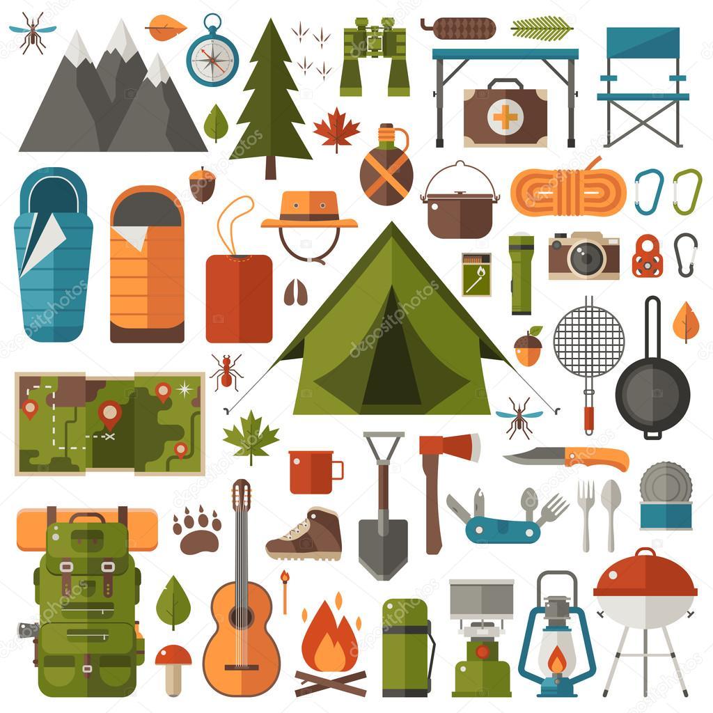 watch 9e881 64727 Campeggi e trekking Set di attrezzatura — Vettoriali Stock ...
