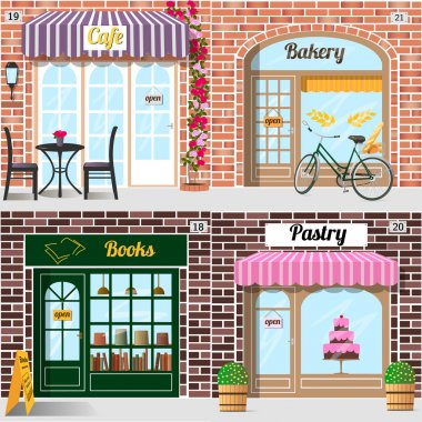 Set of vector detailed design bakery, cafe, bookshop and pastry shop.