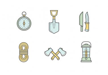 Set of vector camping illustrations