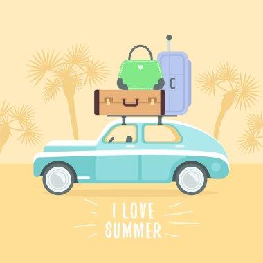 Retro car with suitcases
