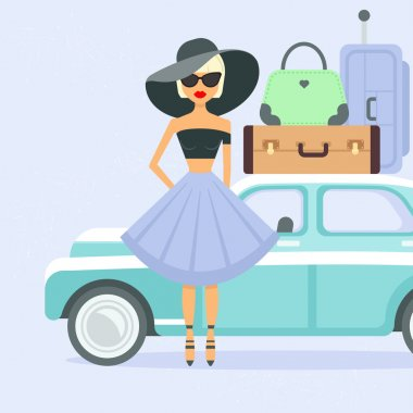 Retro car with suitcases and woman
