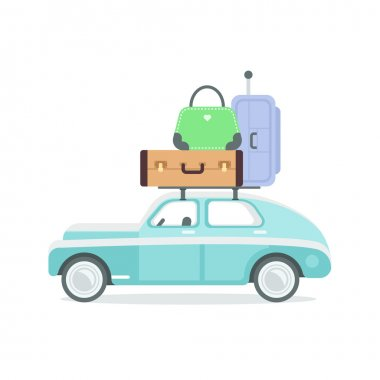 Isolated retro car with suitcases