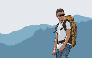 Tourists in the mountains, mountain hiker