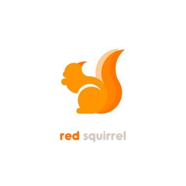 Red squirrel vector logotype.