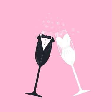 Bridal couple wine glasses