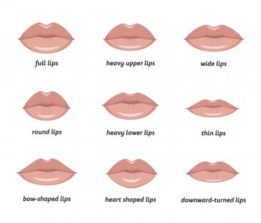 Various types of  woman lips.