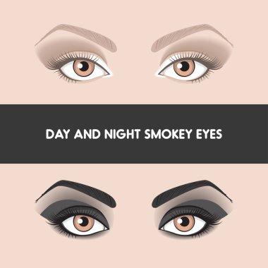 Day and night smokye eyes