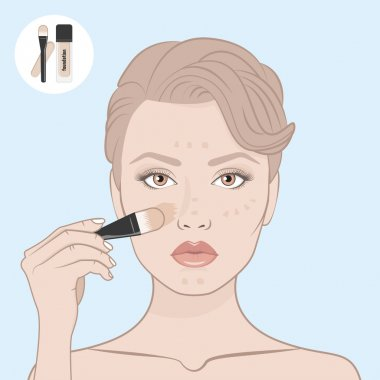 Beauty woman face and foundation with brush