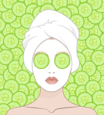 A woman puts a face mask.