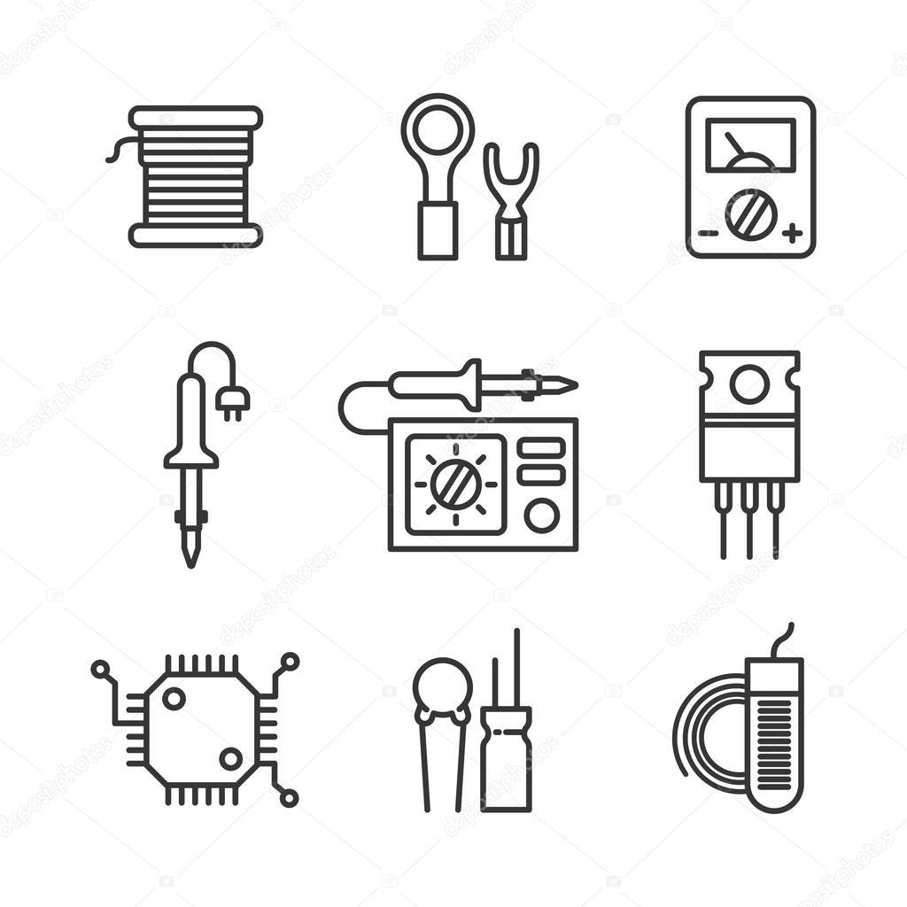 Neun Symbole für Mikro-Schaltung — Stockvektor © i.harlamoff.pro ...