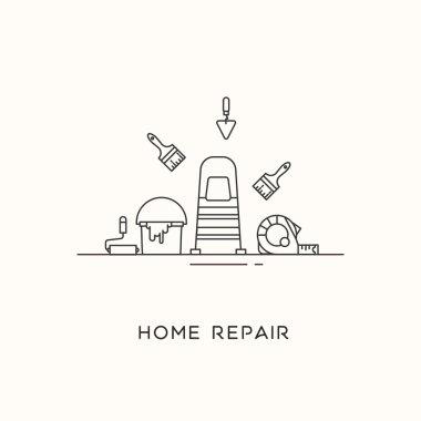 Home repair line art.