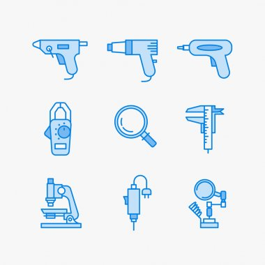 Nine icons for micro-circuitry, science and electrical