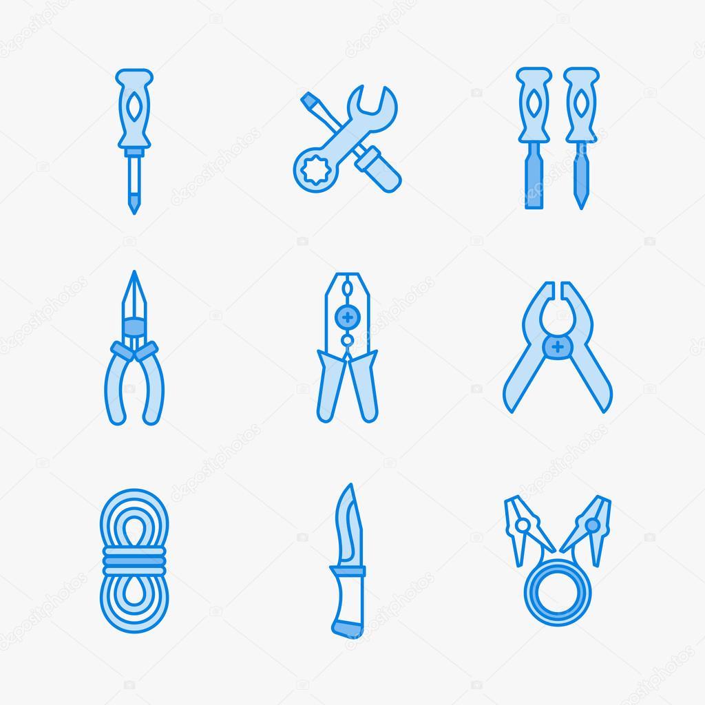 Neun Symbole für Mikro-Schaltung, Wissenschaft und elektrische ...