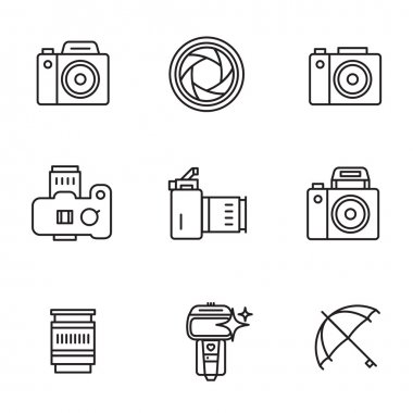 Vector icon set for camerist.