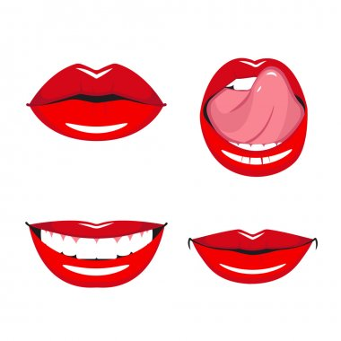 Set of vector red lips.