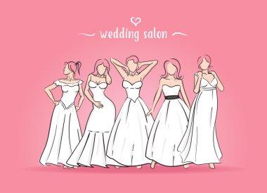 Vector illustration of five brides.