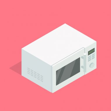 Microwave oven. Isometric vector illustration.