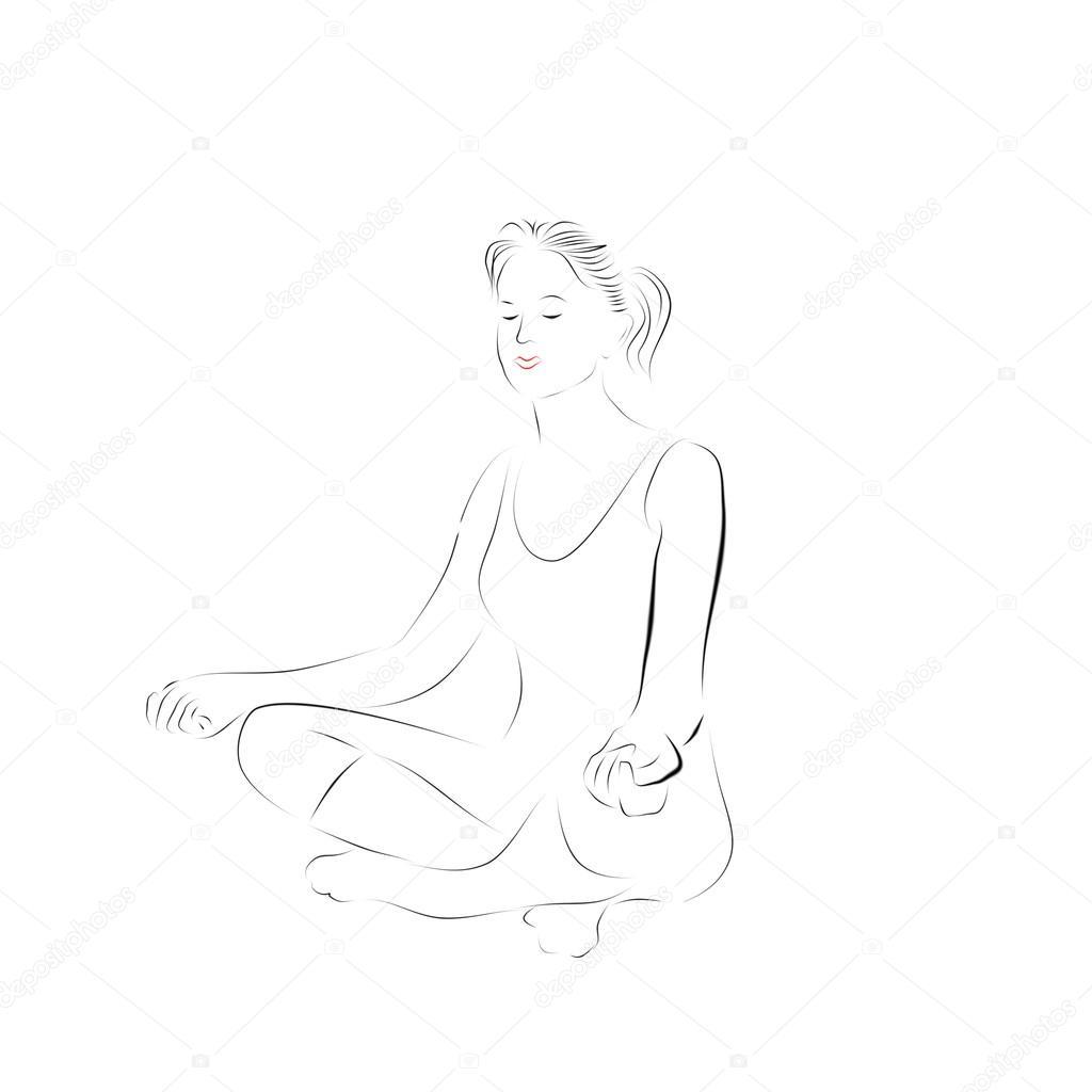 Woman Meditating Yoga Silhouette Of A Girl In Lotus Pose Sports Exercises Stock Photo C Iranikol88 105593738