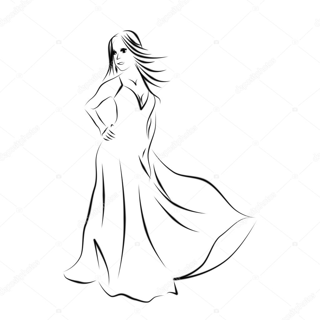Vestido blanco con negro lineas