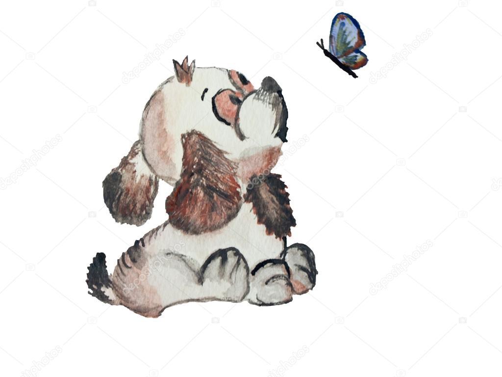 abstracto acuarela cachorro mirando una mariposa sobre un fondo de ...
