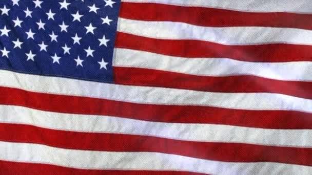 American Flag Slow Waving. Close up of American flag waving.