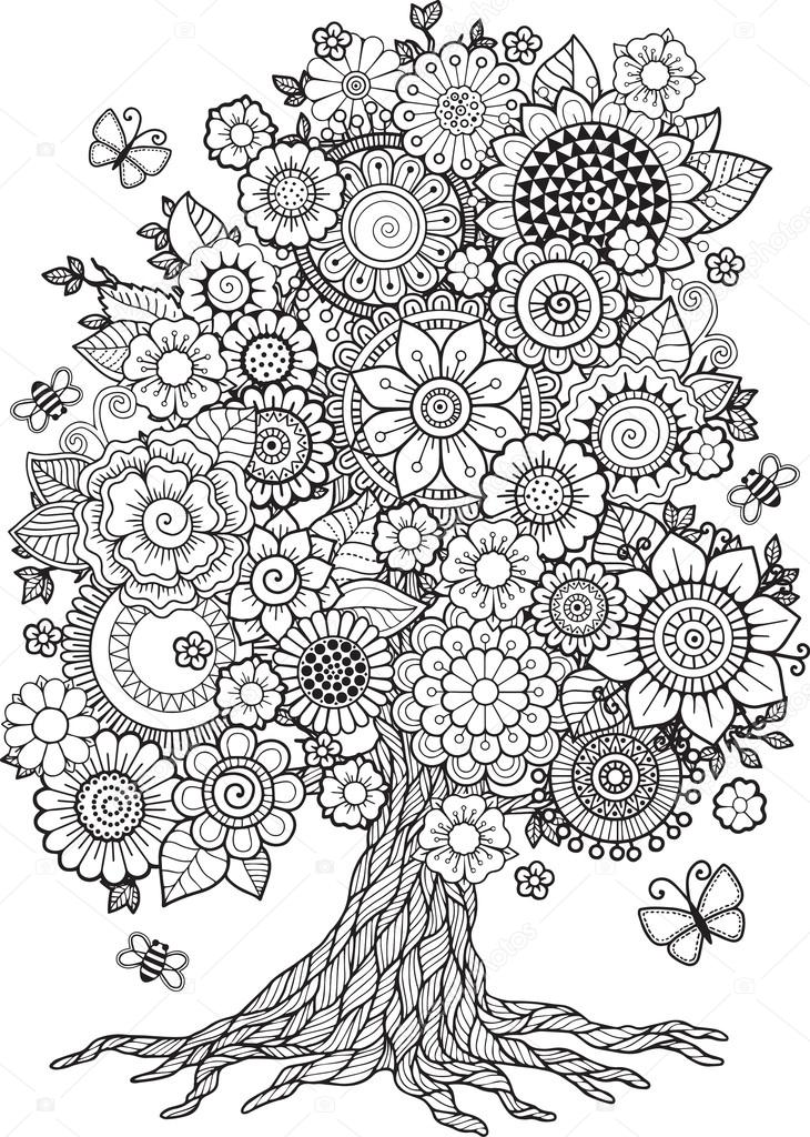 Blossom tree with floral elements vector
