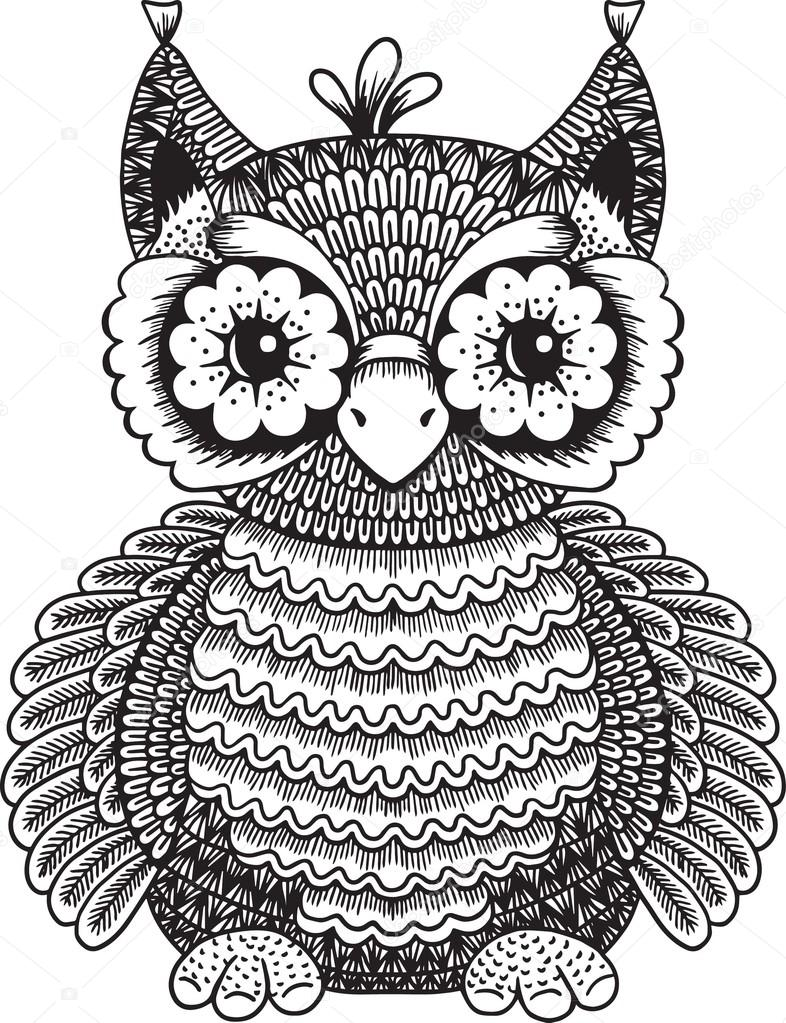 Isolated vector funny doodle owl