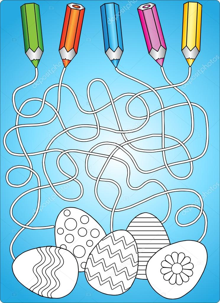 Coloring Book Easter Eggs Maze Game For Children Stock Vector 104820692