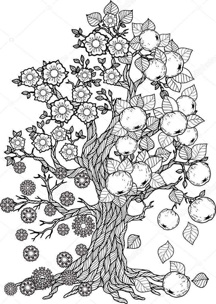 ぬりえ本ツリーの季節 ストックベクター Natasha Tpr 105457618