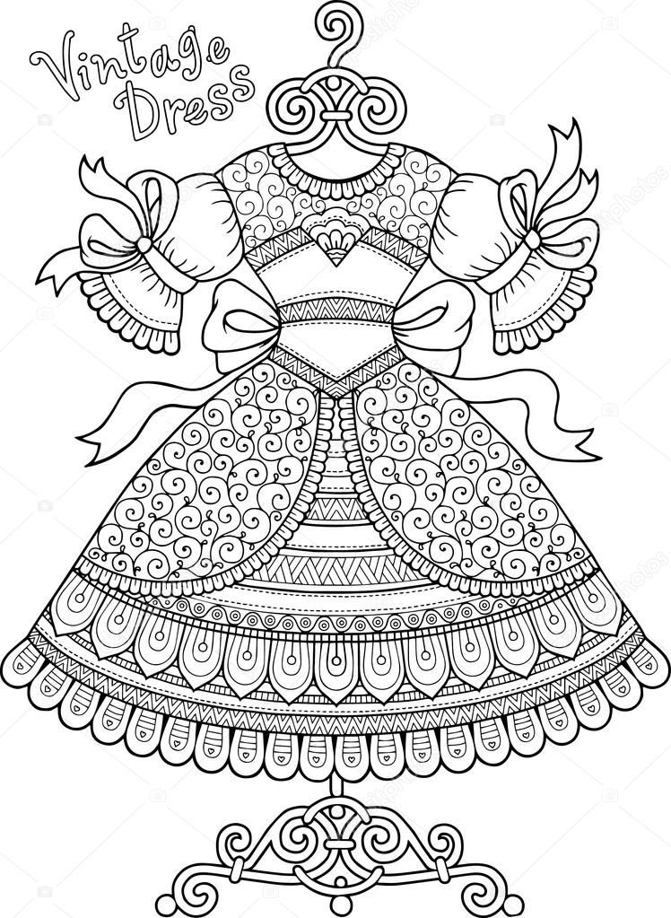 Vintage fashion - Fashion Adult Coloring Pages | 1023x748