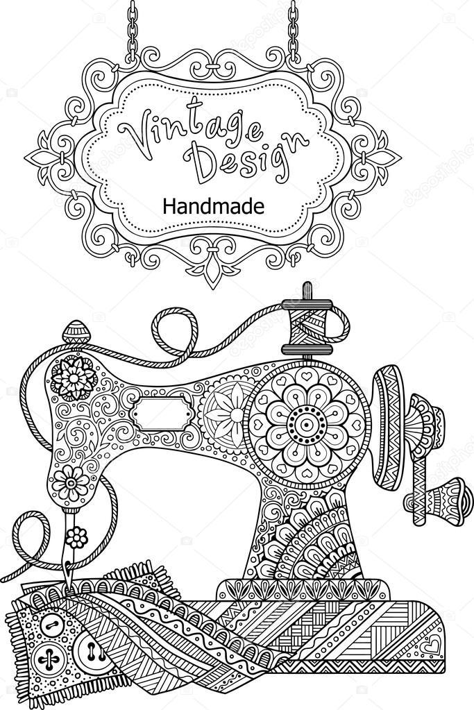 Imágenes Coser Para Colorear Máquina De Coser Vintage Decorativo
