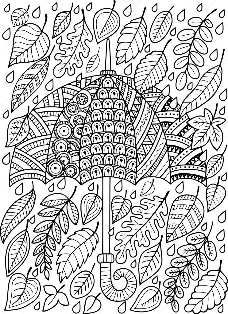 Ik Hou Van Herfst Regen Kleurboek Voor Volwassenen Stockvector