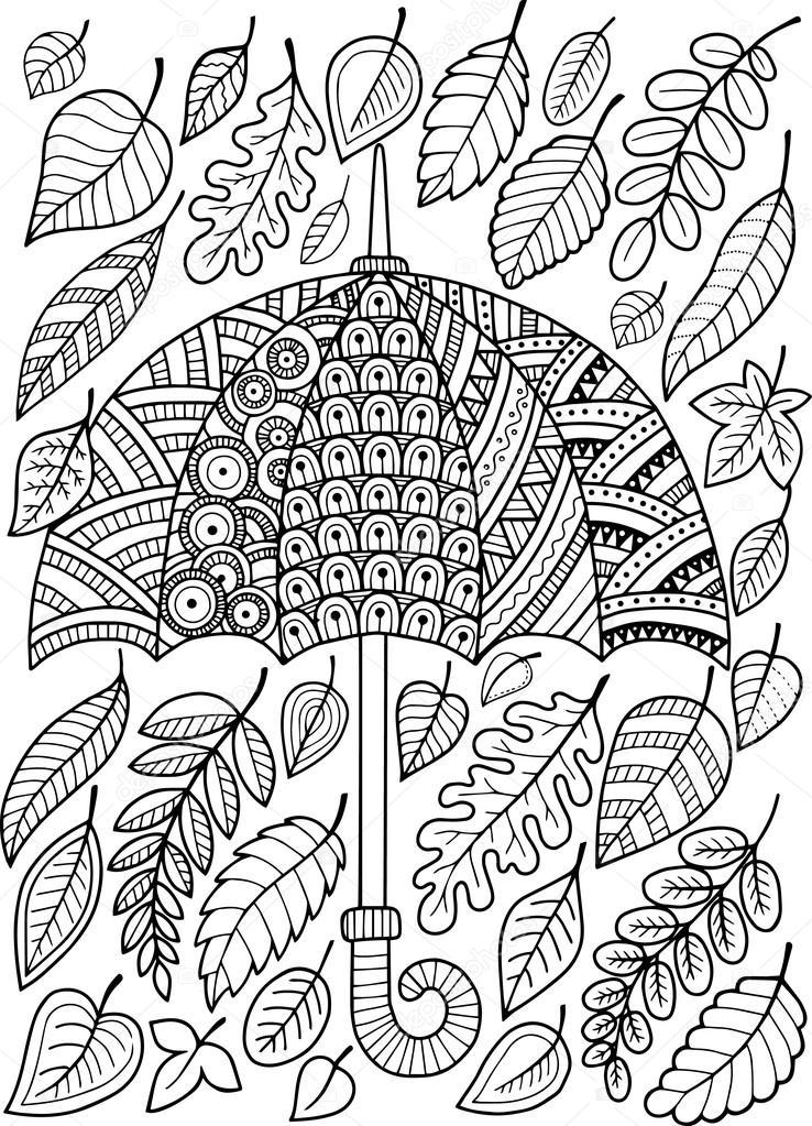 Ich liebe Herbst Regen. Malbuch für Erwachsene — Stockvektor ...