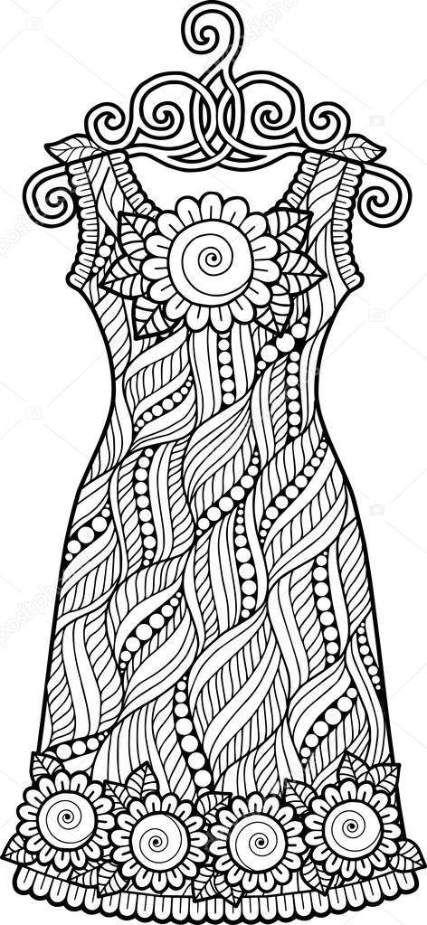 Boyama Kitabı Vintage Elbise Stok Vektör Natasha Tpr 105467404