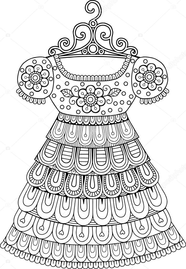 Boyama Kitabı Vintage Elbise Stok Vektör Natasha Tpr 105467406