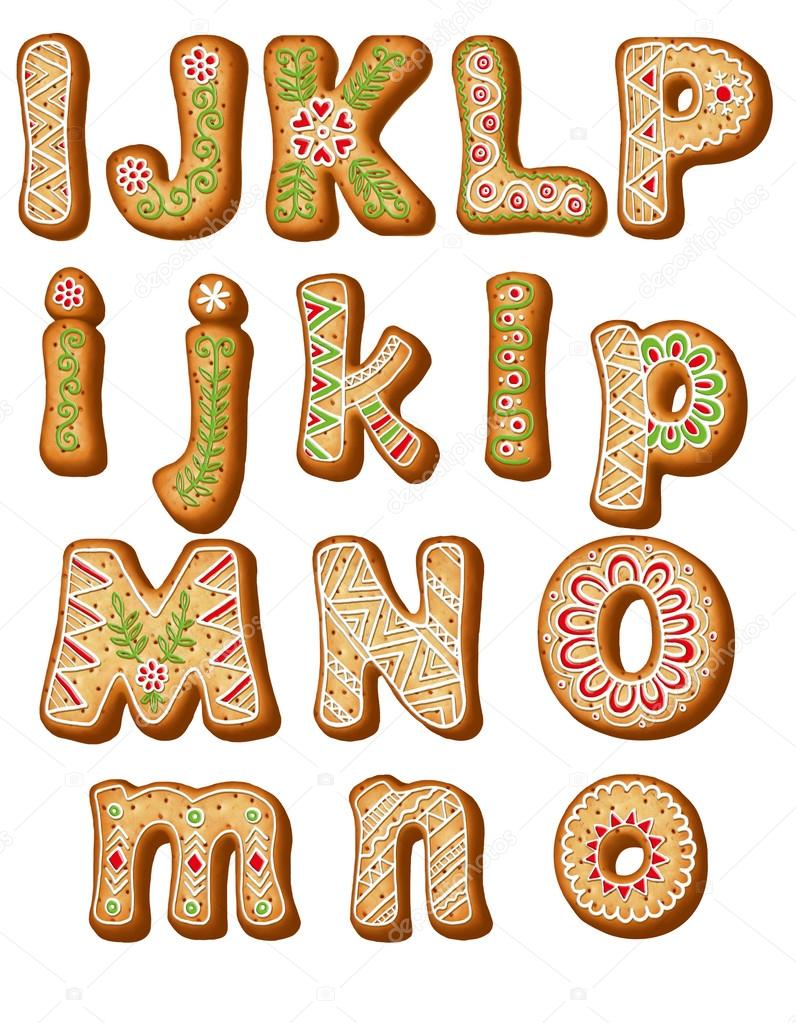 English gingerbread alphabet  ABC Christmas cookies  — Stock Photo