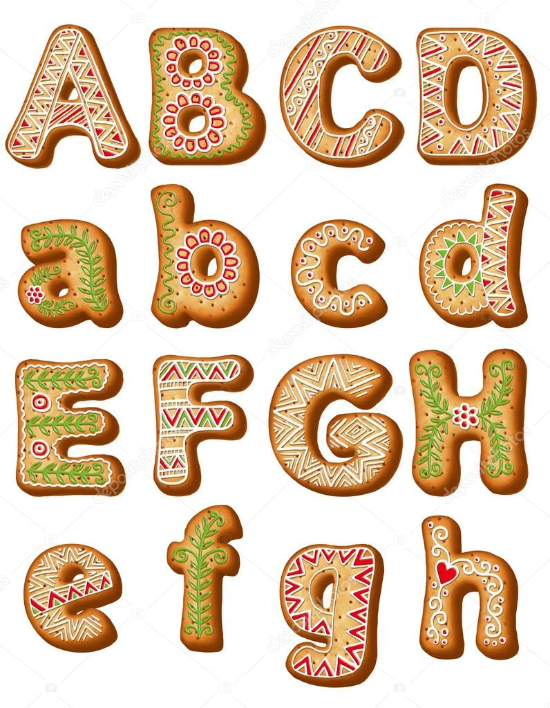 English gingerbread alphabet  ABC Christmas cookies  — Stock
